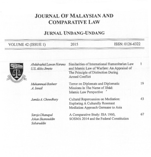 (2015) 42 (1) JMCL